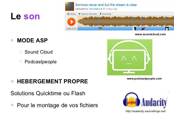 Le  son <ul><li>MODE ASP </li></ul><ul><ul><li>Sound Cloud </li></ul></ul><ul><ul><li>Podcastpeople  </li></ul></ul><ul><l...