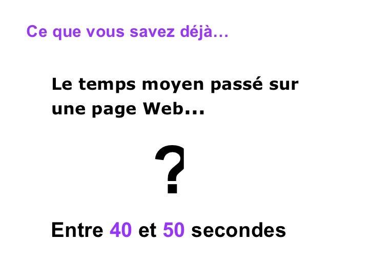 Le temps moyen passé sur une page Web … Ce que vous savez déjà… ? Entre  40  et  50  secondes