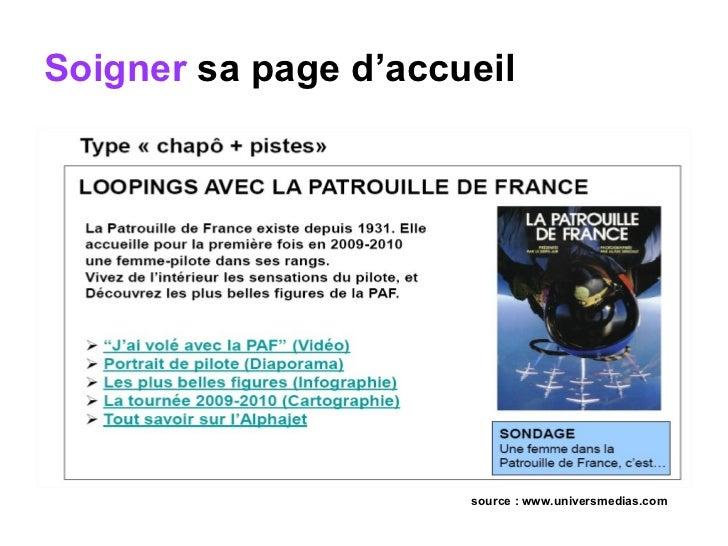 Soigner  sa page d'accueil   source : www.universmedias.com