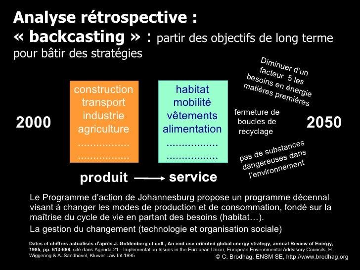 Analyse rétrospective : «backcasting»  :  partir des objectifs de long terme pour bâtir des stratégies Diminuer d'un fac...