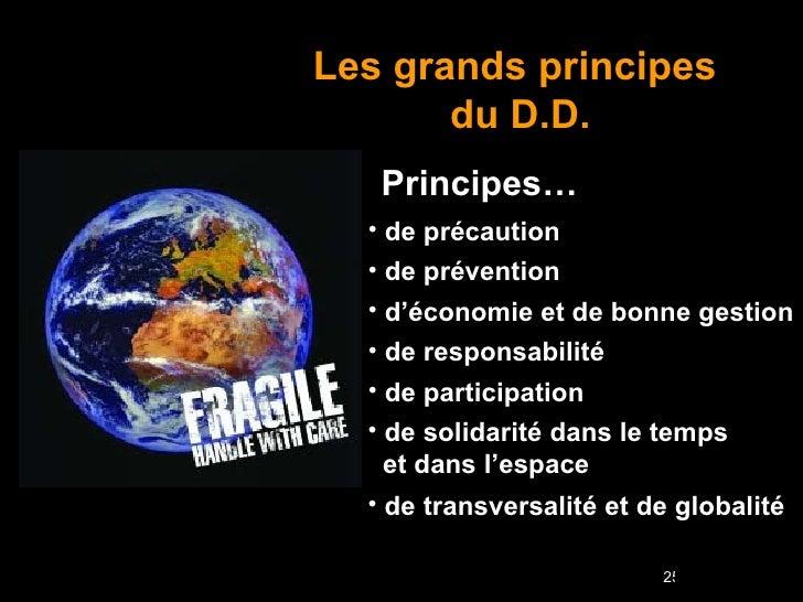 Les grands principes  du   D.D. Principes… <ul><li>de précaution </li></ul><ul><li>de prévention </li></ul><ul><li>d'écono...