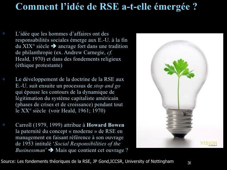 Comment l'idée de RSE a-t-elle émergée ? <ul><li>L'idée que les hommes d'affaires ont des responsabilités sociales émerge ...