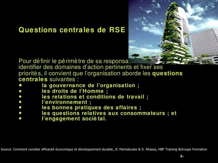 <ul><li>Questions centrales de RSE </li></ul><ul><li>Pour définir le périmètre de sa responsabilité sociétale,  </li></ul>...