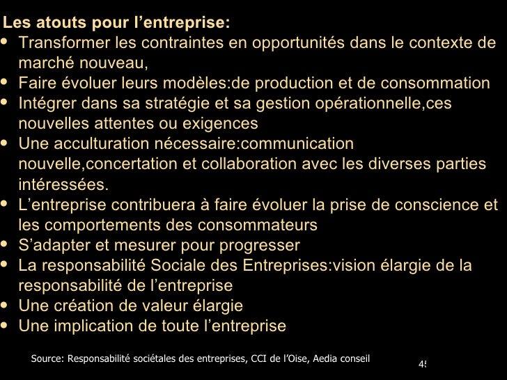 <ul><li>Les atouts pour l'entreprise: </li></ul><ul><li>Transformer les contraintes en opportunités dans le contexte de ma...