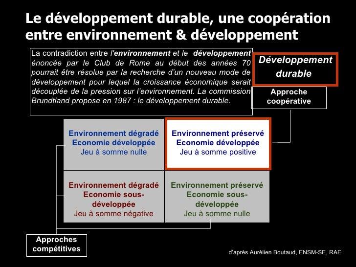 La contradiction entre  l' environnement  et le  développement  énoncée par le Club de Rome au début des années 70 pourrai...
