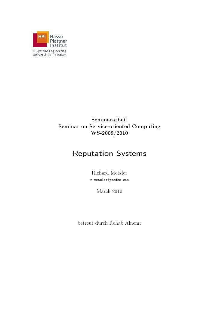Seminararbeit Seminar on Service-oriented Computing            WS-2009/2010         Reputation Systems              Richar...