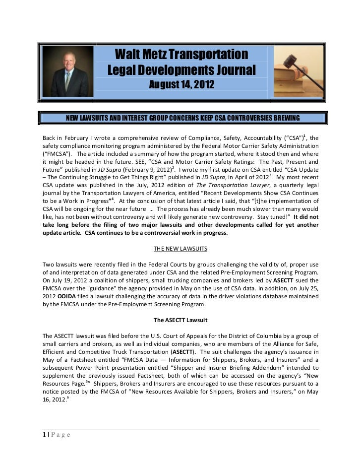 Walt Metz Transportation                        Legal Developments Journal                                        August 1...