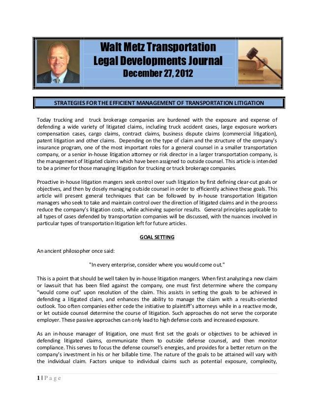 Walt Metz Transportation                         Legal Developments Journal                                      December ...