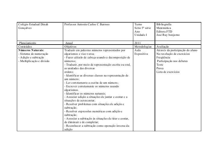 Colégio Estadual Dinah      Professor Antonio Carlos C Barroso                       Turno            BibliografiaGonçalve...