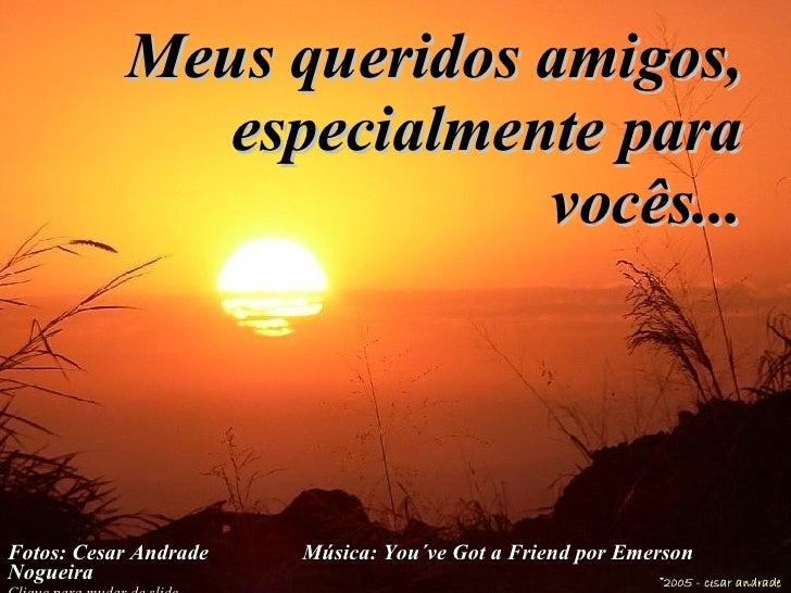 Meus queridos amigos, especialmente para vocês... Fotos: Cesar Andrade  Música:  You´ve Got a Friend por Emerson Nogueira ...