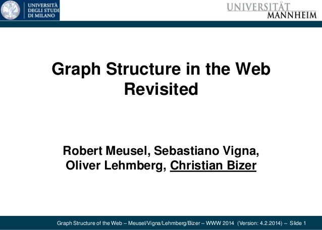 Graph Structure of the Web – Meusel/Vigna/Lehmberg/Bizer – WWW 2014 (Version: 4.2.2014) – Slide 1 Graph Structure in the W...