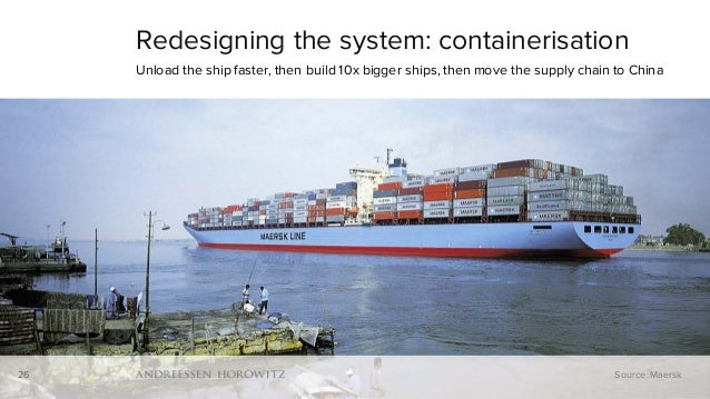 26 Redesigning the system: containerisation Unload the ship faster, then build 10x bigger ships, then move the supply chai...