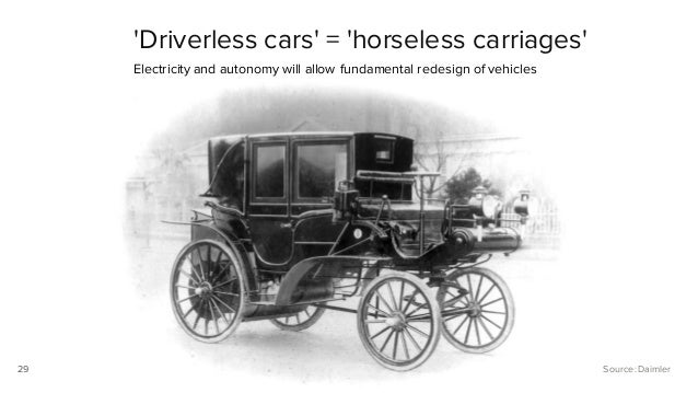 29 'Driverless cars' = 'horseless carriages' Electricity and autonomy will allow fundamental redesign of vehicles 29 Sourc...