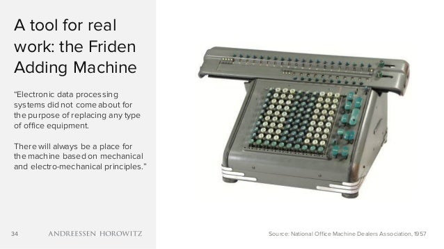 "34 A tool for real work: the Friden Adding Machine ""Electronic data processing systems did not come about for the purpose ..."