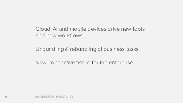 41 Cloud, AI and mobile devices drive new tools and new workflows. Unbundling & rebundling of business tasks. New connecti...