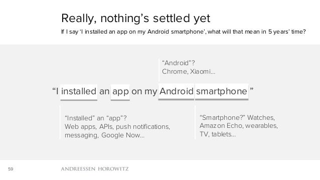 59 Really, nothing's settled yet If I say 'I installed an app on my Android smartphone', what will that mean in 5 years' t...