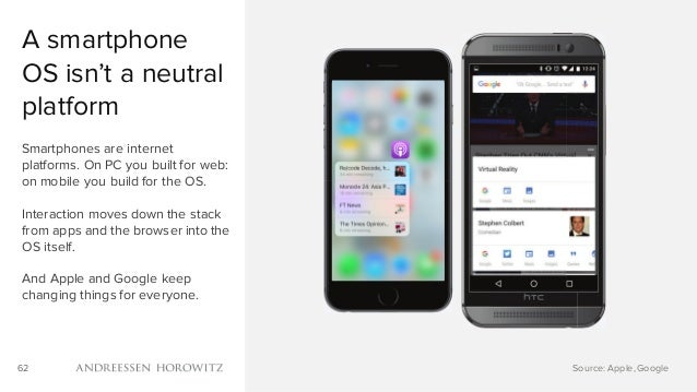 62 A smartphone OS isn't a neutral platform Smartphones are internet platforms. On PC you built for web: on mobile you bui...