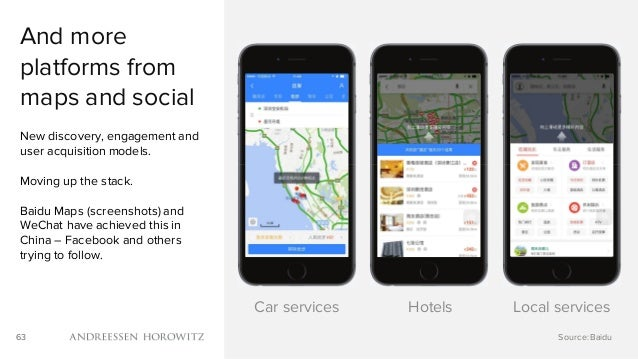 63 And more platforms from maps and social New discovery, engagement and user acquisition models. Moving up the stack. Bai...