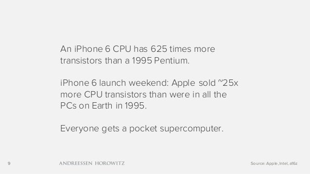 9 An iPhone 6 CPU has 625 times more transistors than a 1995 Pentium. iPhone 6 launch weekend: Apple sold ~25x more CPU tr...