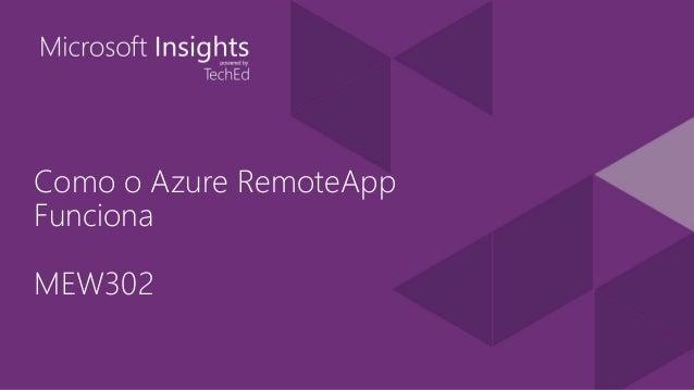 Como o Azure RemoteApp Funciona MEW302