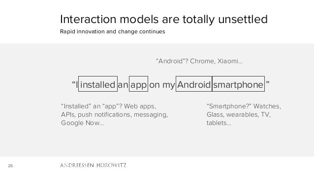 "26 Interaction models are totally unsettled Rapid innovation and change continues ""I installed an app on my Android smartp..."