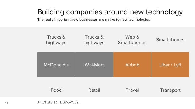 44 Building companies around new technology The really important new businesses are native to new technologies Trucks & hi...