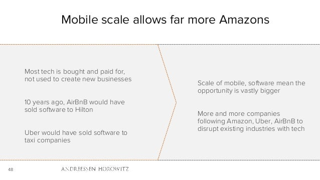 48 Mobile scale allows far more Amazons Most tech is bought and paid for, not used to create new businesses 10 years ago, ...