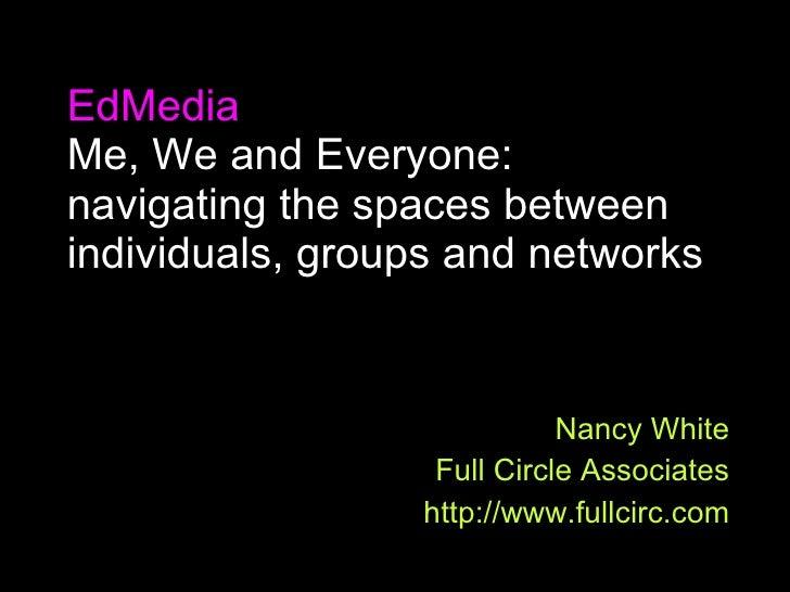 "EDayz09 Should we be using  ""community for learning?"" Nancy White Full Circle Associates http://www.fullcirc.com http://ww..."