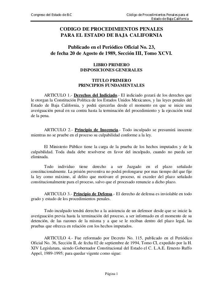 Congreso del Estado de B.C                            Código de Procedimientos Penales para el                            ...
