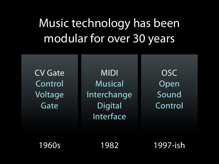 Music technology has beenmodular for over 30 yearsCV Gate       MIDI       OSCControl      Musical     OpenVoltage   Inter...