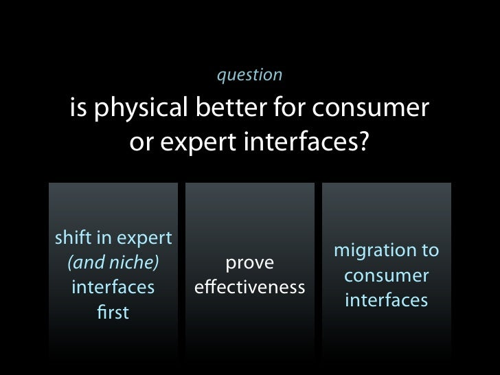 question is physical better for consumer      or expert interfaces?shift in expert                                 migrati...