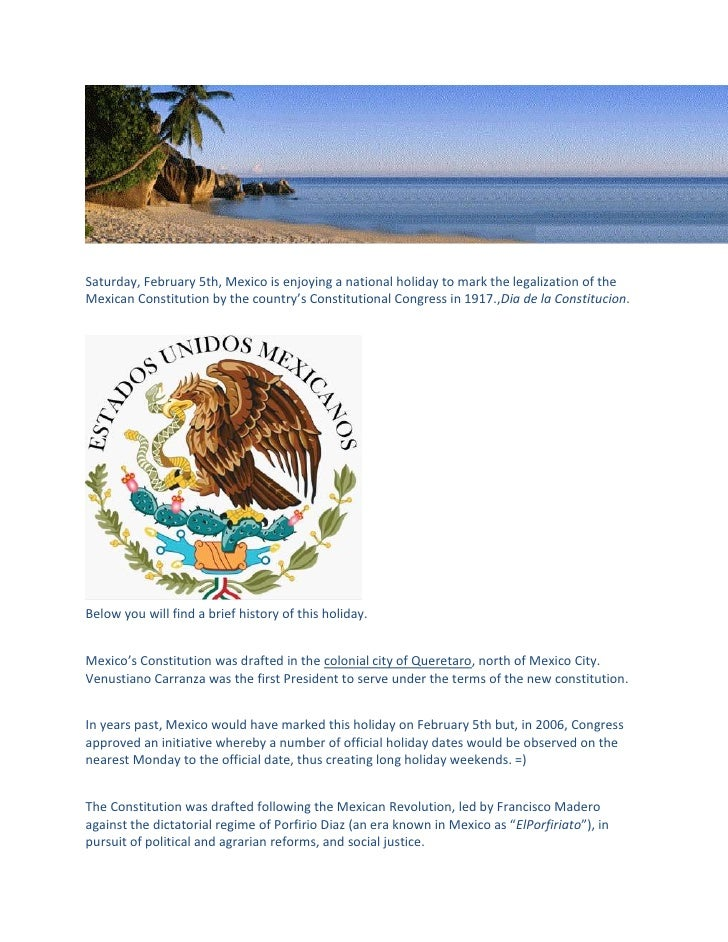 mexican holiday feb 5th constitution