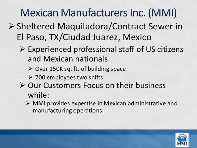 Sheltered Maquiladora/Contract Sewer in El Paso, TX/Ciudad Juarez, Mexico   Experienced professional staff of US citizen...