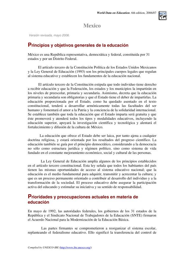 World Data on Education. 6th edition, 2006/07                                                Mexico Versión revisada, mayo...