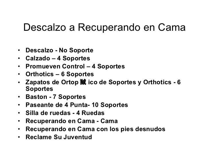 Descalzo a Recuperando en Cama <ul><li>Descalzo - No Soporte </li></ul><ul><li>Calzado – 4 Soportes </li></ul><ul><li>Prom...