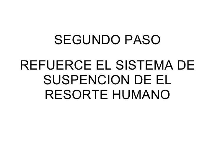 SEGUNDO PASO REFUERCE EL SISTEMA DE SUSPENCION DE EL RESORTE HUMANO