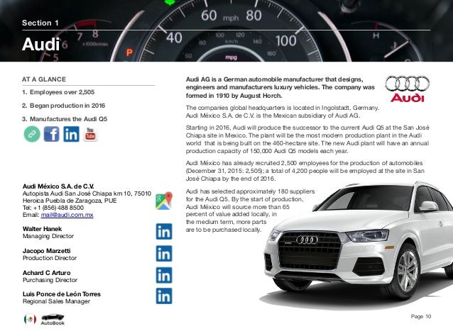 Section 2 Other OEMs In Mexico Page 11 The full version of the Mexico AutoBook includes profiles of the following companies...
