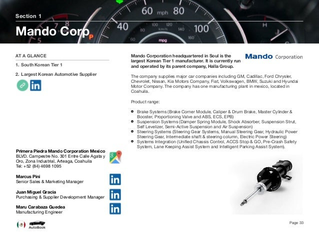 Section 2 Other Asian Tier 1 Suppliers Page 34 The full version of the Mexico AutoBook includes profiles of the following c...