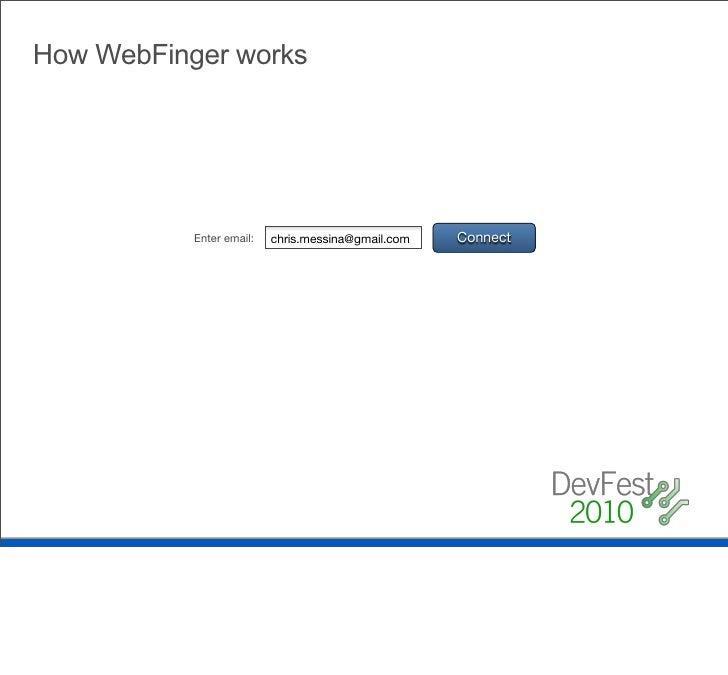 How WebFinger works Server returns LRDD document           <?xml version='1.0' encoding='UTF-8'?>       <XRD xmlns='http:/...