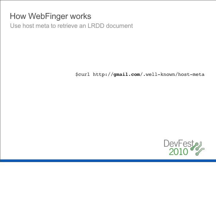 How WebFinger works    Plugin acct: into URI Template                                                         acct:chris.m...