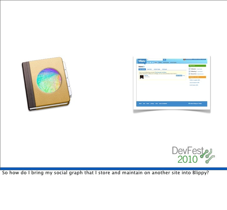 Portable Contacts!     anyway, the answer to the question of how to get the address book into Blippy safely? [CLICK]  Port...