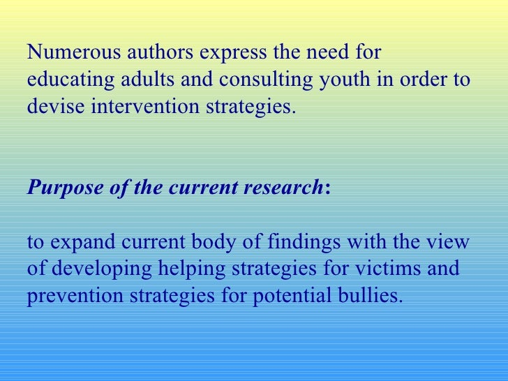 Numerous authors express the need for educating adults and consulting youth in order to devise intervention strategies. Pu...