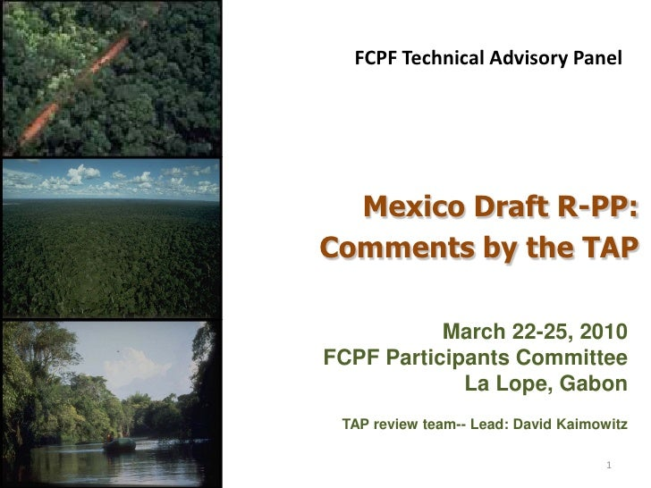 FCPF Technical Advisory Panel       Mexico Draft R-PP: Comments by the TAP             March 22-25, 2010 FCPF Participants...