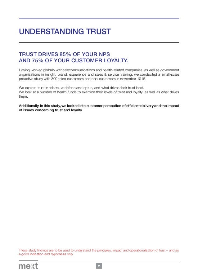 impact of customer trust on loyalty Customer satisfaction, commitment, service impartiality, service quality, and trust are the key loyalty factors akbar et al's (2010) study showed that service quality positively affects loyalty, as perceived by hotel customers.