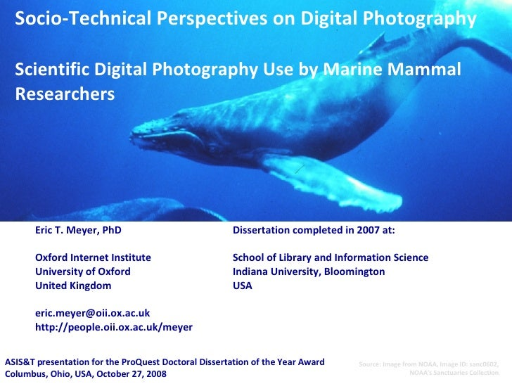 Socio-Technical Perspectives on Digital Photography Scientific Digital Photography Use by Marine Mammal Researchers Eric T...
