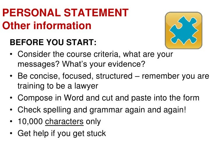lawcabs personal statement guidance notes