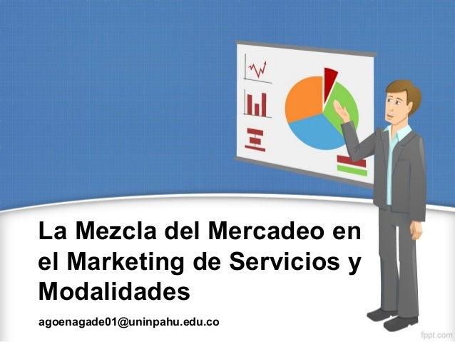 La Mezcla del Mercadeo en el Marketing de Servicios y Modalidades agoenagade01@uninpahu.edu.co