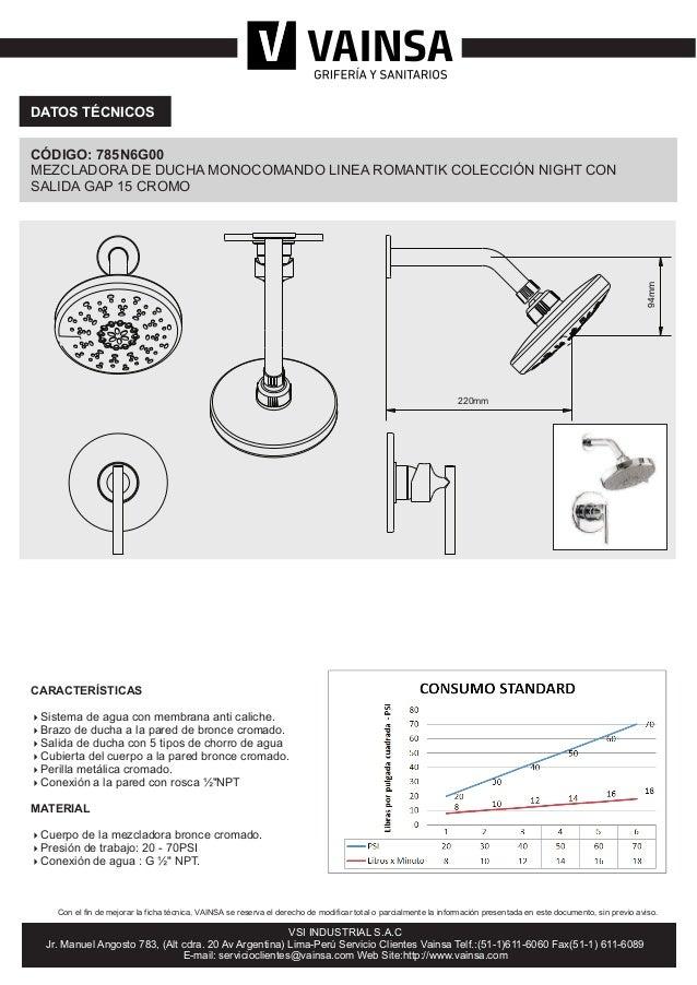 Mezcladora de ducha monocomando colecci n night cromo 785n6g00 for Mezcladora de ducha