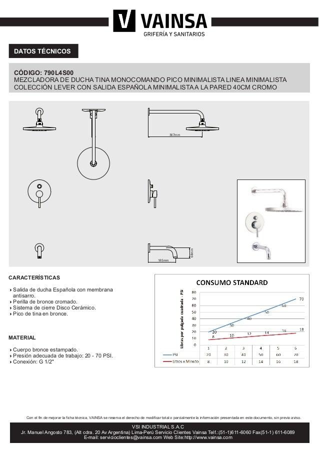 Mezcladora de ducha tina monocomando pico minimalista for Mezcladora de ducha