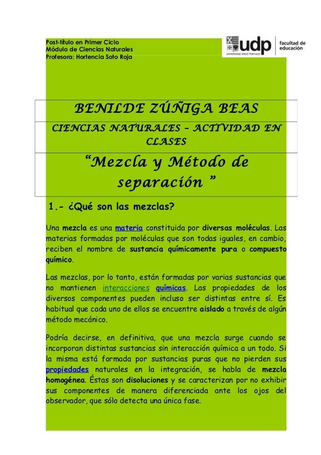Post-título en Primer CicloMódulo de Ciencias NaturalesProfesora: Hortencia Soto Roja         BENILDE ZÚÑIGA BEAS CIENCIAS...